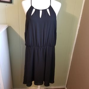 Attention Black Silky Cutout on Collar Dress XXL